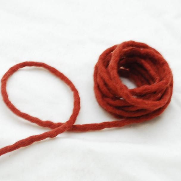100% Wool Felt Cord - Handmade - 3 Metres - Dark Chestnut Red