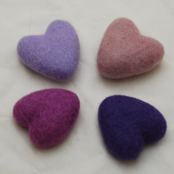 100% Wool Felt Heart - 6cm - Purple Colours - 4 hearts