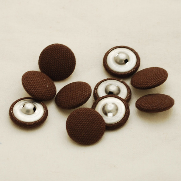 100 Fabric Covered Buttons - Brown - 1.4cm, 2cm, 2.8cm sizes