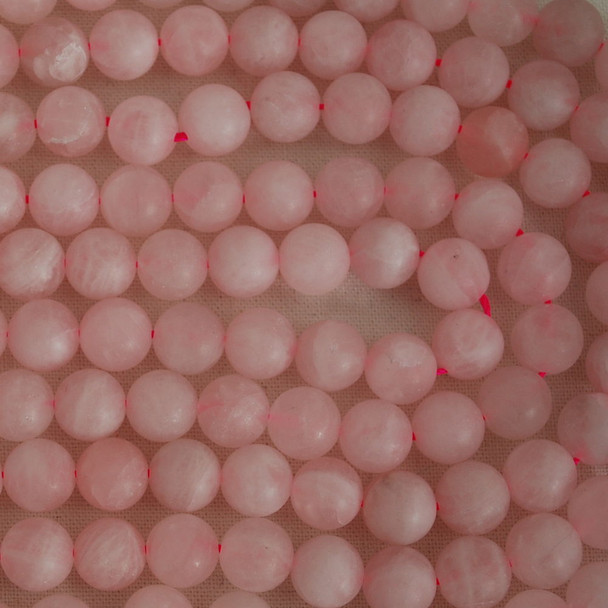 High Quality Grade A Natural Rose Quartz (pink) Frosted / Matte Round Beads 4mm, 6mm, 8mm, 10mm sizes
