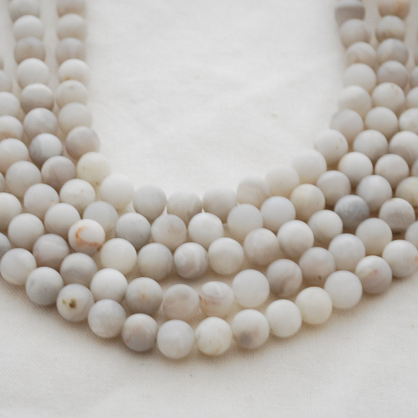 High Quality Grade A Natural White Lace Agate Gemstone Round Beads 4mm, 6mm, 8mm, 10mm sizes