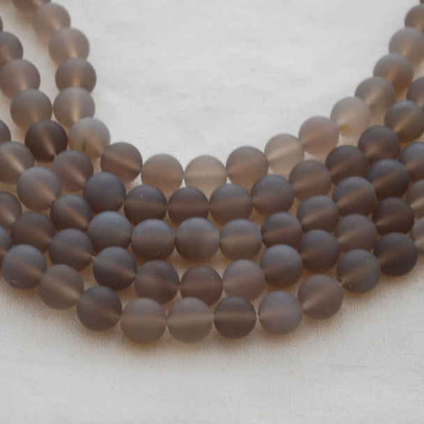 High Quality Grade A Natural Grey Agate Frosted / Matte Gemstone Round Beads 4mm, 6mm, 8mm, 10mm sizes