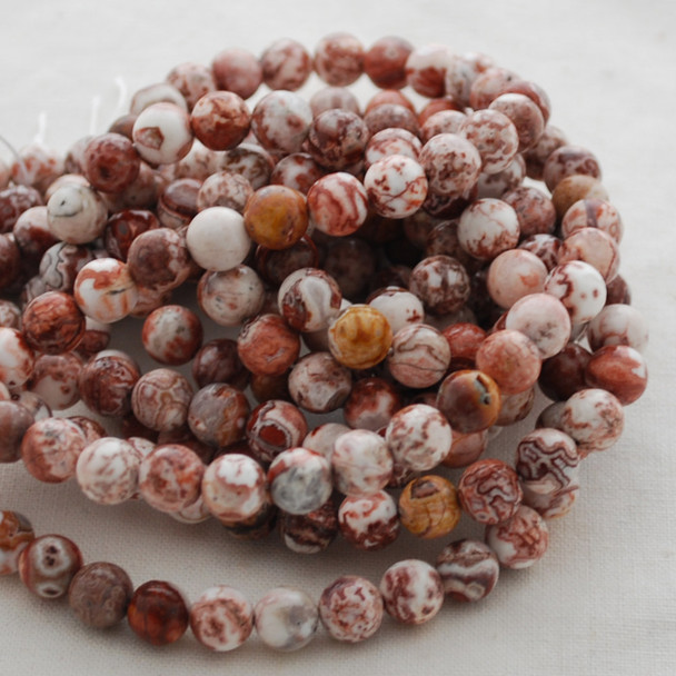 High Quality Grade A Natural Laguna Agate Gemstone Round Beads 4mm, 6mm, 8mm, 10mm sizes