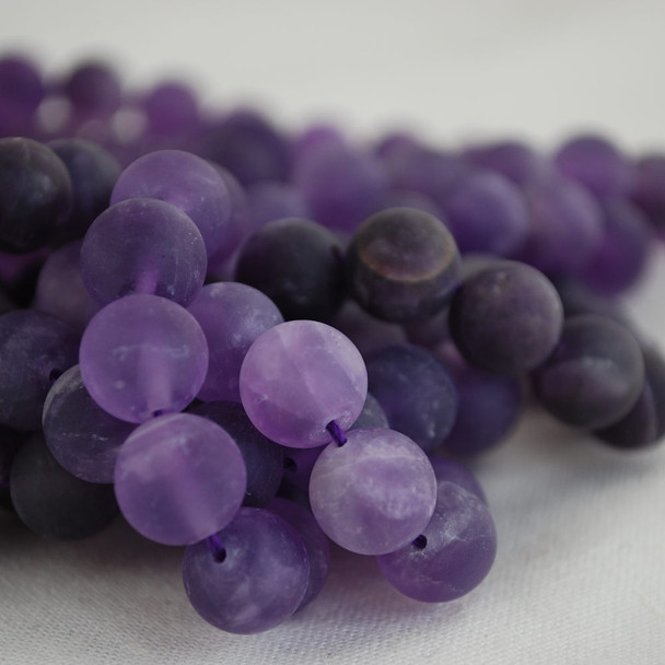 High Quality Grade AB Natural Amethyst Frosted / Matte Gemstone Round Beads 4mm, 6mm, 8mm, 10mm sizes