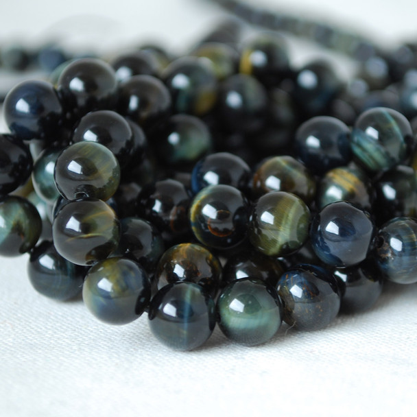 High Quality Grade A Natural Blue Tiger's Eye Gemstone Round Beads 4mm, 6mm, 8mm, 10mm sizes
