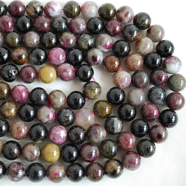 High Quality Grade AB Natural Multi-colour Tourmaline Gemstone Round Beads 4mm, 6mm, 8mm, 10mm sizes