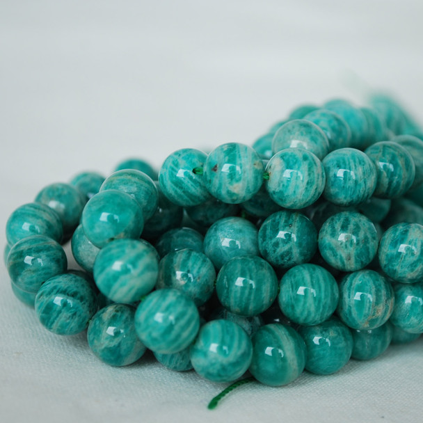 High Quality Grade AB Natural Russian Amazonite Gemstone Round Beads 4mm, 6mm, 8mm, 10mm sizes