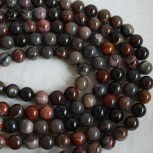High Quality Grade AB Natural Petrified Wood Agate Gemstone Round Beads 4mm, 6mm, 8mm, 10mm sizes