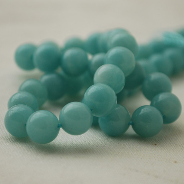 "High Quality Grade AAA Natural Amazonite Semi-Precious Gemstone Round Beads - 8mm - 15"" long"
