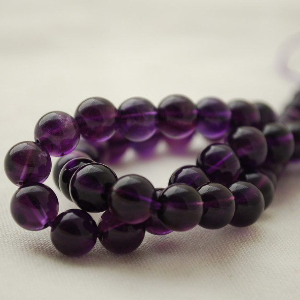 "High Quality Grade AAA Natural Amethyst Semi-Precious Gemstone Round Beads - 8mm - 15"" long"