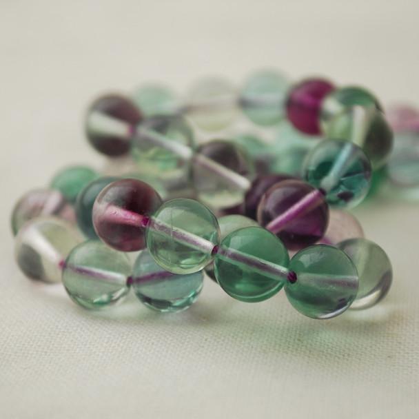 "High Quality Grade AAA Natural Rainbow Fluorite Semi-Precious Gemstone Round Beads - 8mm - 15"" long"