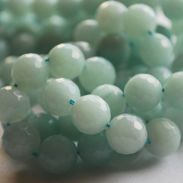 "High Quality Grade A Natural Amazonite Faceted Semi-Precious Gemstone Round Beads 6mm, 8mm, 10mm sizes - 15"" long"