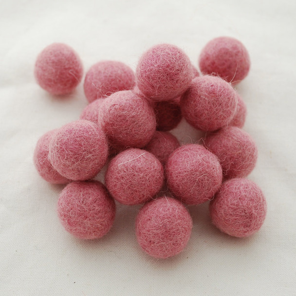 100% Wool Felt Balls - 2cm - Coral Pink - 20 Count / 100 Count