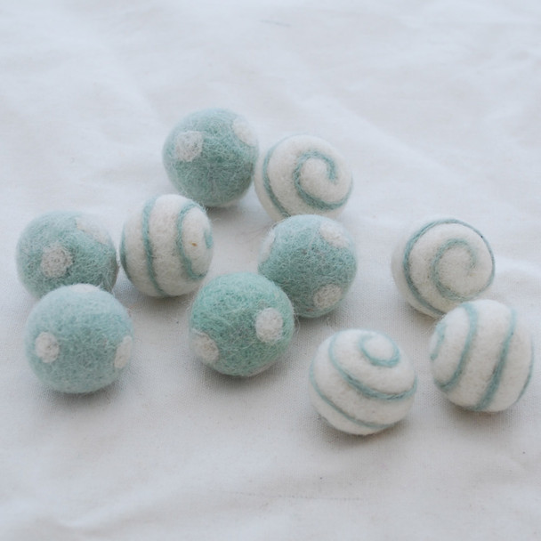 100% Wool Felt Balls - Polka Dots & Swirl Felt Balls - 2.5cm - 10 Count - Powder Blue