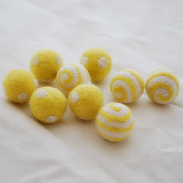 100% Wool Felt Balls - Polka Dots & Swirl Felt Balls - 2.5cm - 10 Count - Yellow