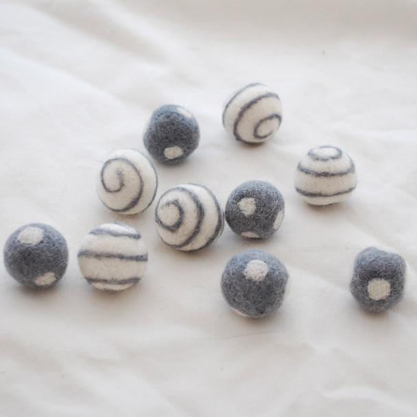100% Wool Felt Balls - Polka Dots & Swirl Felt Balls - 2.5cm - 10 Count - Battleship Grey