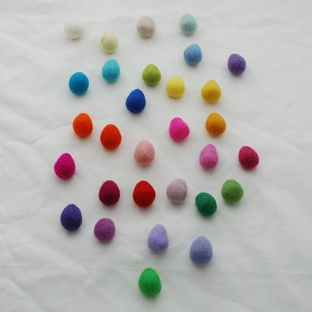 100% Wool Felt Raindrops / Teardrops / Eggs - 30 Count - Light & Bright Colours