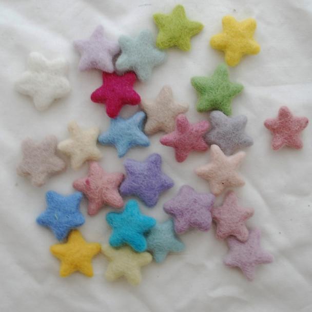 100% Wool Felt Stars - 25 Count - approx 3.5cm - Light, Pale & Pastel Colours