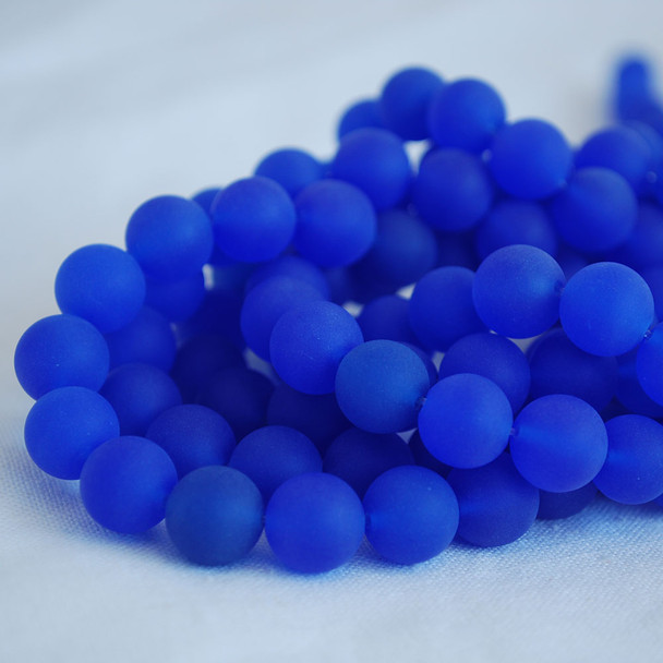 High Quality Grade A Blue Agate Frosted / Matte Semi-precious Gemstone Round Beads 4mm, 6mm, 8mm, 10mm sizes