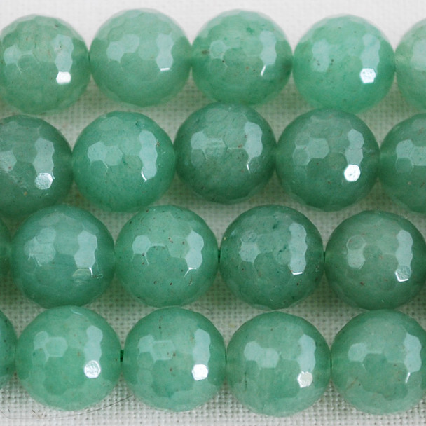 "High Quality Grade A Natural Green Aventurine Faceted Semi-Precious Gemstone Round Beads 6mm, 8mm, 10mm sizes - 15"" long"