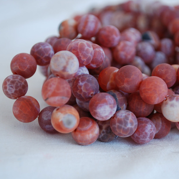 High Quality Grade A Fire Agate Frosted / Matte Semi-precious Gemstone Round Beads 4mm, 6mm, 8mm, 10mm sizes