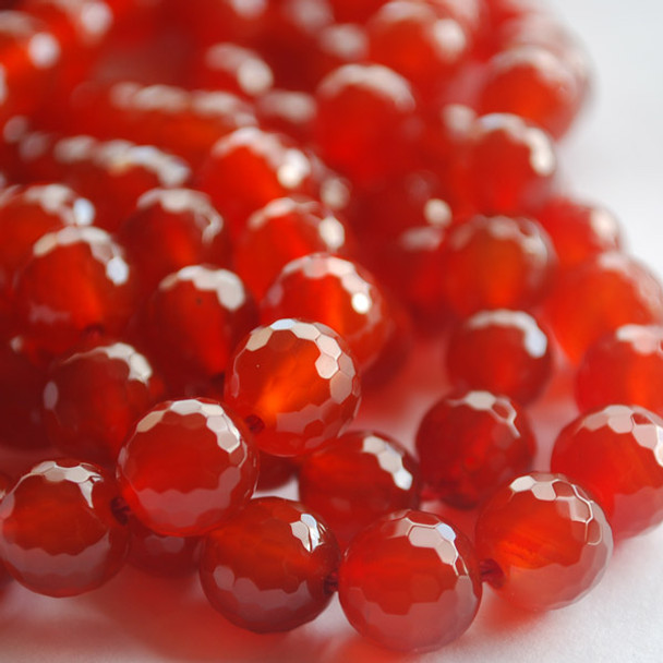 High Quality Grade A Red Agate Faceted Semi-precious Gemstone Round Beads 6mm, 8mm, 10mm