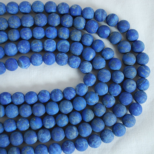 High Quality Grade A Natural Lapis Lazuli Frosted / Matte Semi-precious Gemstone Round Beads 4mm, 6mm, 8mm, 10mm sizes