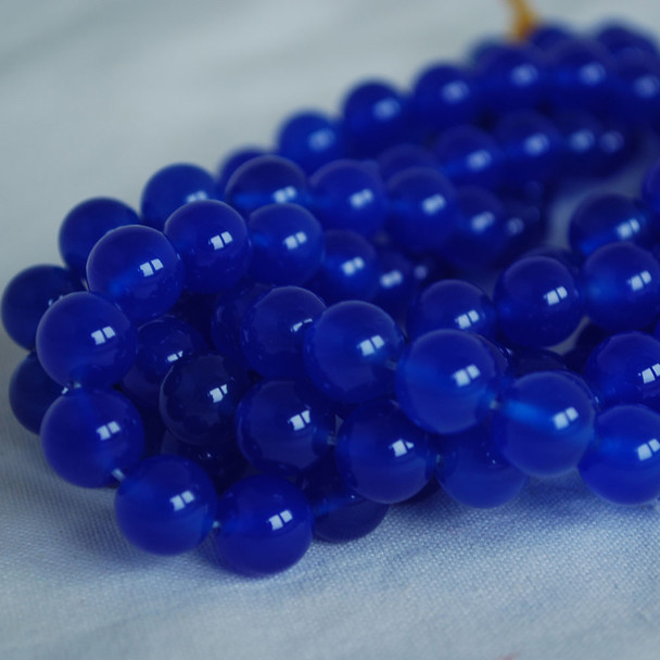 High Quality Grade A Blue Agate Semi-precious Gemstone Round Beads 4mm, 6mm, 8mm, 10mm sizes