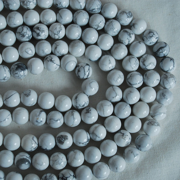 High Quality Grade A Natural White Howlite Semi-precious Gemstone Round Beads 4mm, 6mm, 8mm, 10mm sizes