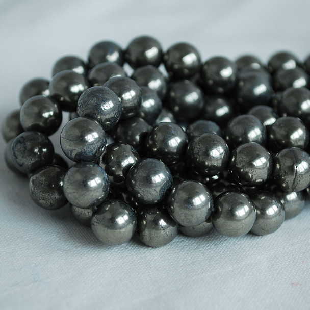High Quality Grade A Natural Pyrite Semi-precious Gemstone Round Beads 4mm, 6mm, 8mm, 10mm sizes