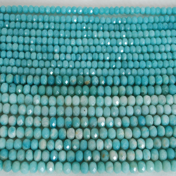 High Quality Grade A Natural Amazonite Semi-Precious Gemstone Faceted Rondelle / Spacer Beads - 3mm, 4mm, 6mm, 8mm, 10mm sizes