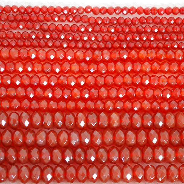High Quality Grade A Red Agate Semi-Precious Gemstone Faceted Rondelle / Spacer Beads - 3mm, 4mm, 6mm, 8mm sizes
