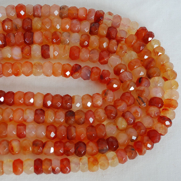 """High Quality Grade A Natural Red Carnelian Agate Semi-Precious Gemstone Faceted Rondelle / Spacer Beads - 10mm x 8mm - 15.5"""" long"""
