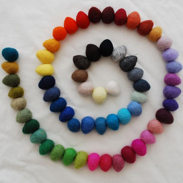 100% Wool Felt Raindrops / Teardrops / Eggs - 60 Count - Assorted Colours