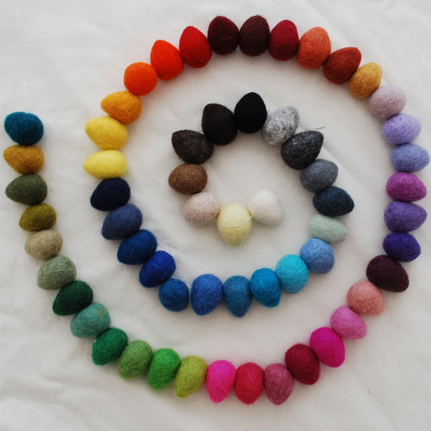 100% Wool Felt Raindrops / Teardrops / Eggs - 10 Count - Pick and Mix from 60 Colours