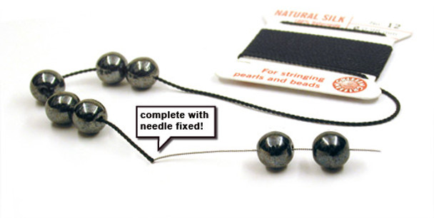 GRIFFIN 100% Natural Silk Bead Cord / String / Thread for stringing Pearls or Beads - Black - choose from 13 Sizes
