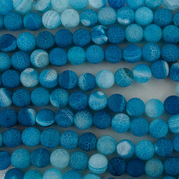 High Quality Crackle Dark Blue Agate Frosted / Matte Semi-precious Gemstone Round Beads 4mm, 6mm, 8mm, 10mm sizes