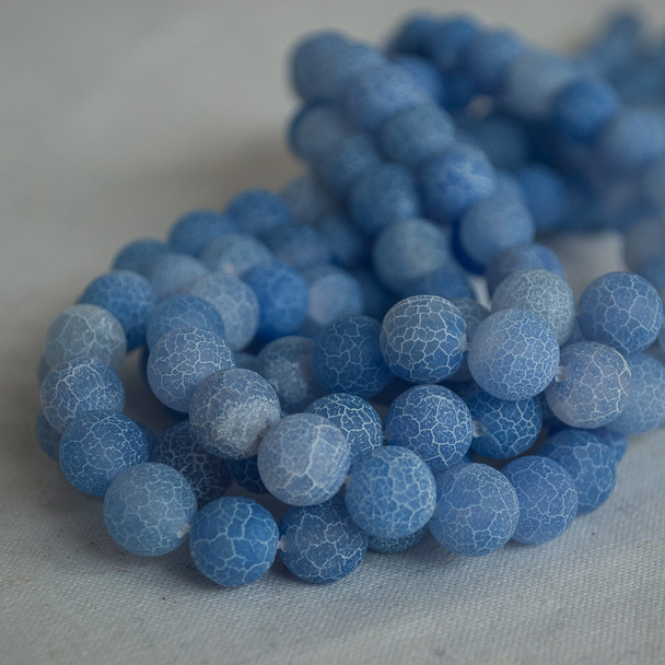 High Quality Crackle Light Blue Agate Frosted / Matte Semi-precious Gemstone Round Beads 4mm, 6mm, 8mm, 10mm sizes