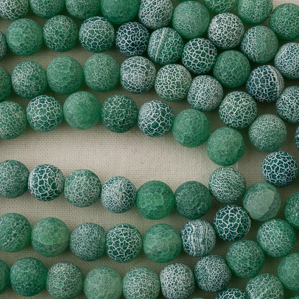 High Quality Crackle Green Agate Frosted / Matte Semi-precious Gemstone Round Beads 4mm, 6mm, 8mm, 10mm sizes