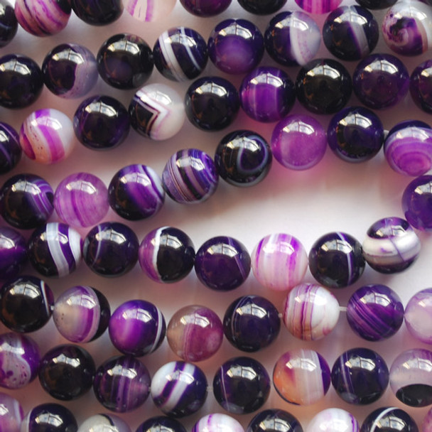 High Quality Grade A Purple Banded Agate Semi-precious Gemstone Round Beads 4mm, 6mm, 8mm, 10mm