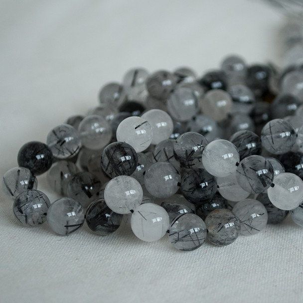 High Quality Grade A Natural Tourmalinated Quartz Semi-precious Gemstone Round Beads - 4mm, 6mm, 8mm, 10mm sizes
