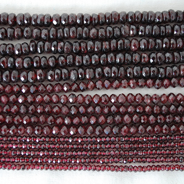 High Quality Grade AB Natural Garnet Semi-Precious Gemstone Faceted Rondelle / Spacer Beads - 4mm, 6mm, 8mm sizes