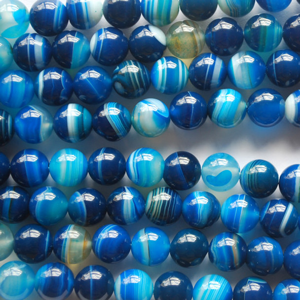 High Quality Grade A Blue Banded Agate Semi-precious Gemstone Round Beads 4mm, 6mm, 8mm, 10mm