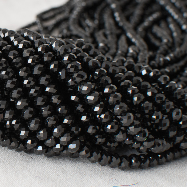 High Quality Grade A Natural Black Spinel Semi-Precious Gemstone Faceted Rondelle / Spacer Beads - 2mm, 3mm, 4mm, 6mm, 8mm sizes