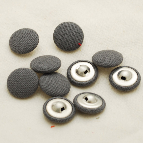 100 Fabric Covered Buttons - Battleship Grey - 1.4cm, 2cm sizes