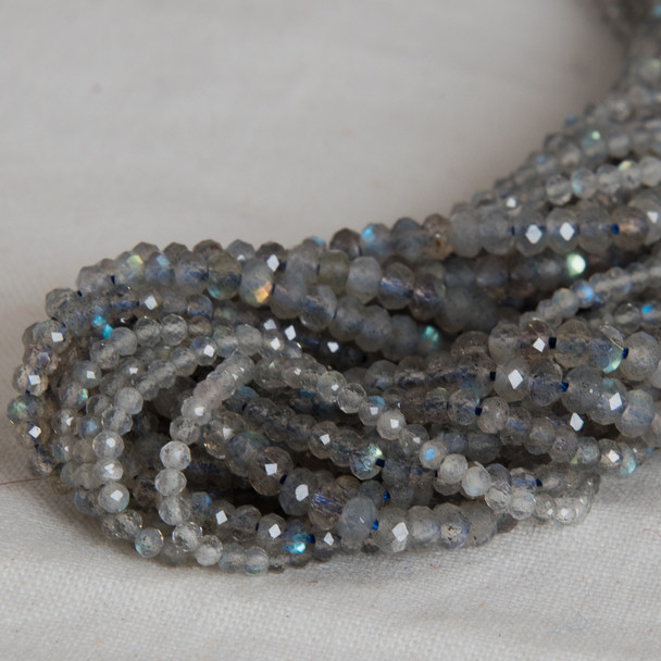 High Quality Grade A Natural Labradorite Semi-Precious Gemstone Faceted Rondelle / Spacer Beads - 2mm, 3mm, 4mm, 6mm, 8mm, 10mm sizes