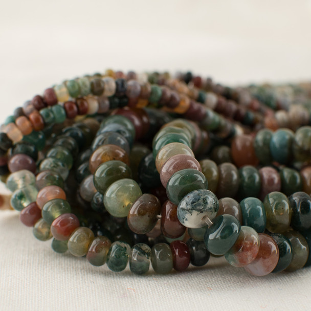 High Quality Grade A Natural Indian Agate Semi-Precious Gemstone Rondelle / Spacer Beads - 4mm, 6mm, 8mm sizes