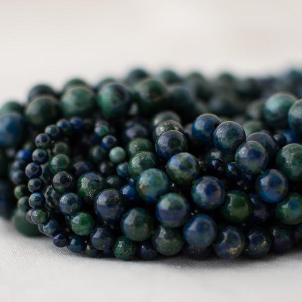 High Quality Grade A Malachite Azurite (blue, green) (dyed) Semi-precious Gemstone Round Beads - 4mm, 6mm, 8mm, 10mm sizes