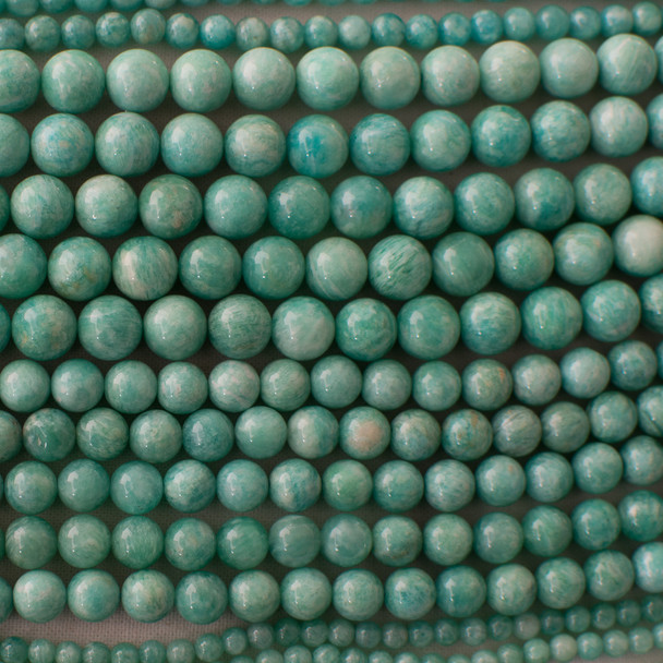 High Quality Grade A Natural Peruvian Amazonite (aqua green) Semi-precious Gemstone Round Beads - 4mm, 6mm, 8mm, 10mm sizes