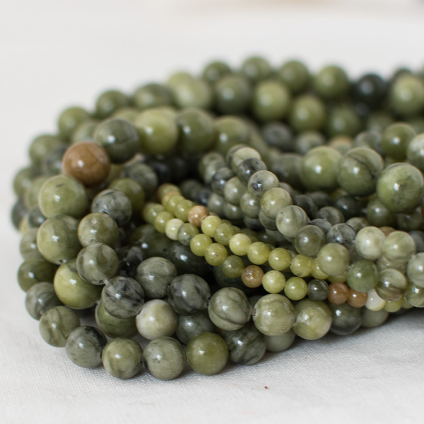 High Quality Grade A Natural Green Jade Semi-precious Gemstone Round Beads - 4mm, 6mm, 8mm, 10mm sizes